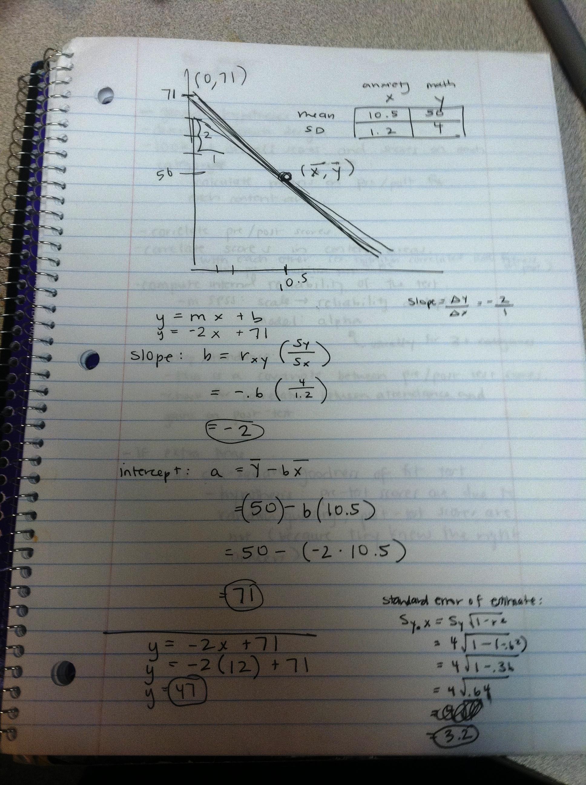 Snapshot of a notebook with an algebra math problem.