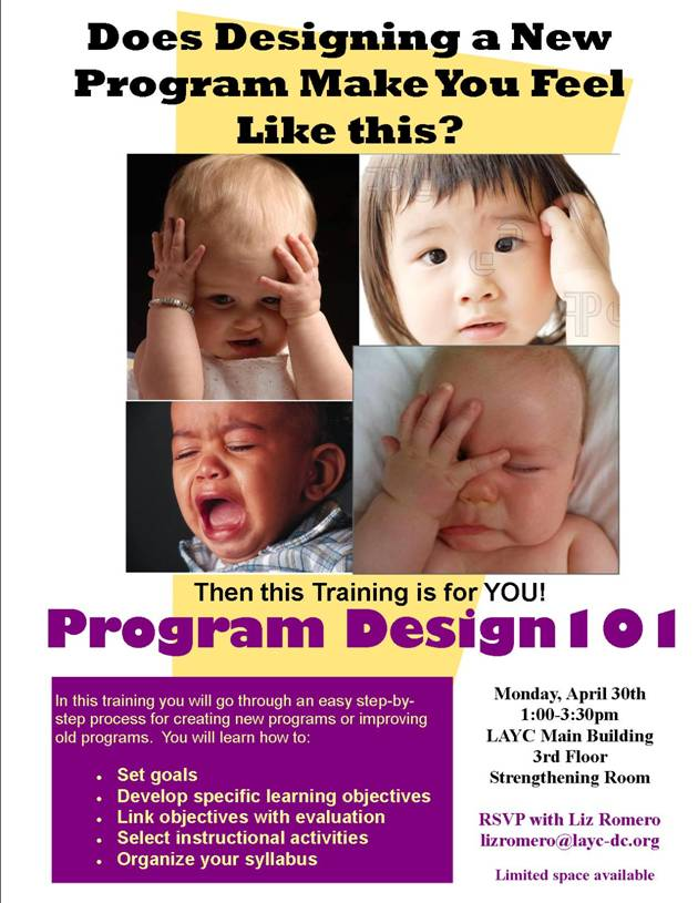 "Flyer for course, ""Program Design 101""."
