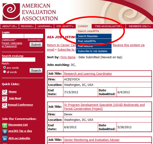 Screenshot of the American Evaluation Association website.