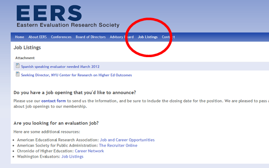 Screenshot of the East Evaluation Research Society website.