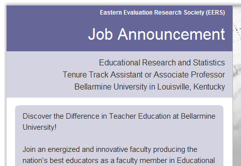 Screenshot of the Eastern Evaluation Research Society's job email for conference attendees.
