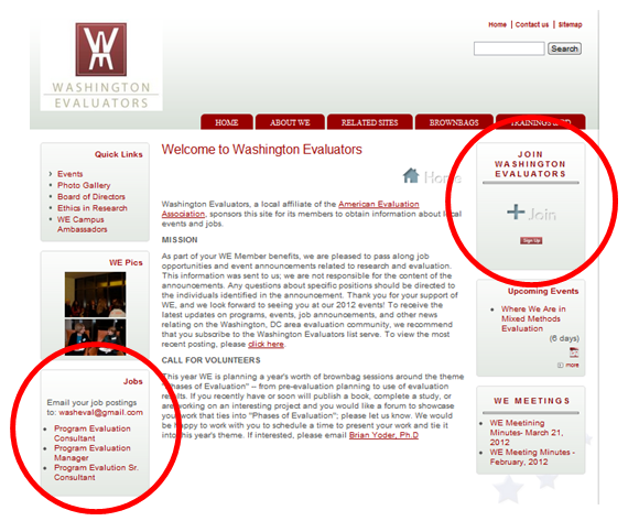 Screenshot of the Washington Evaluators website.