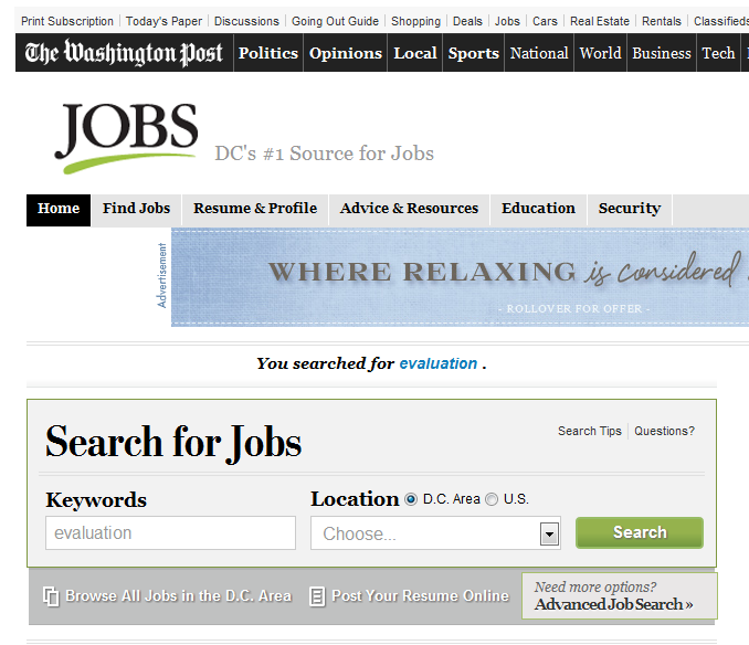 Screenshot of the Washington Post job section of their website.
