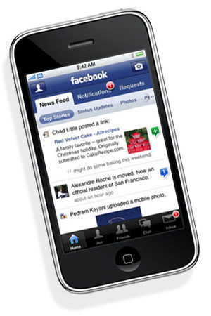 Cell phone with Facebook page showing.