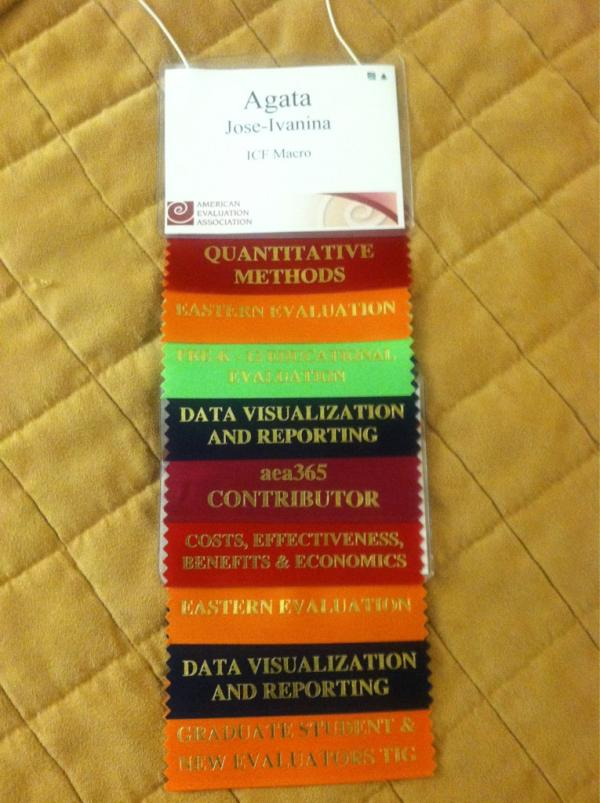 Nametag for a conference with ribbons attached.
