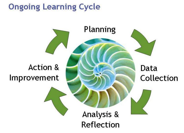 Ongoing learning cycle image with arrows and words in a clockwise pattern.