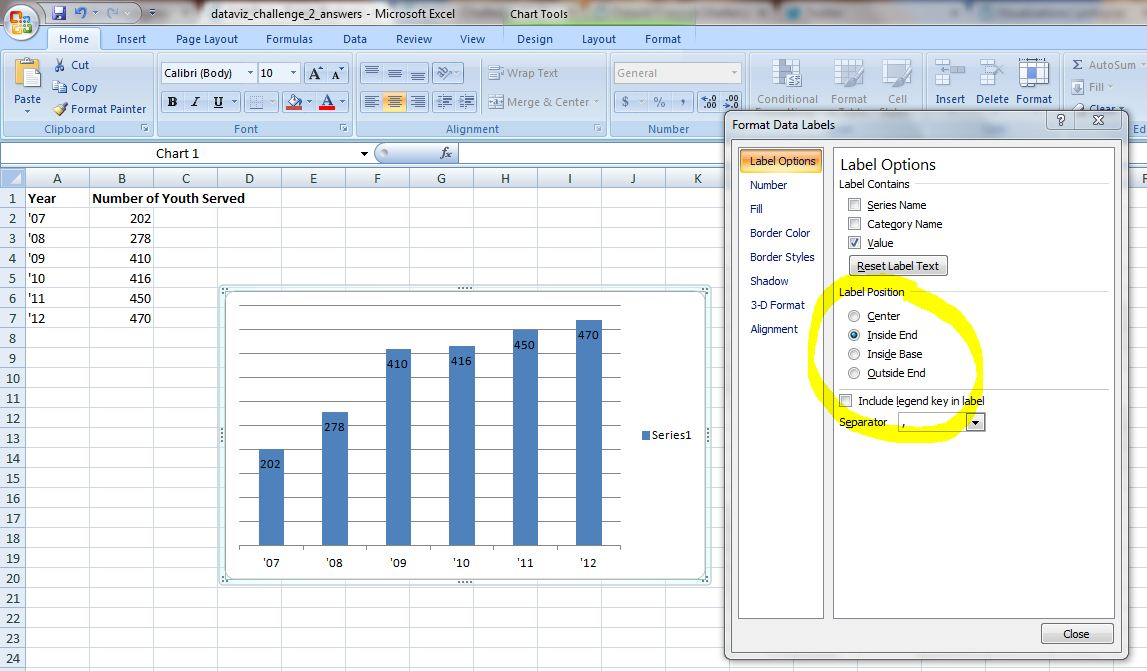 Microsoft Excel spreadsheet showing how to add labels.